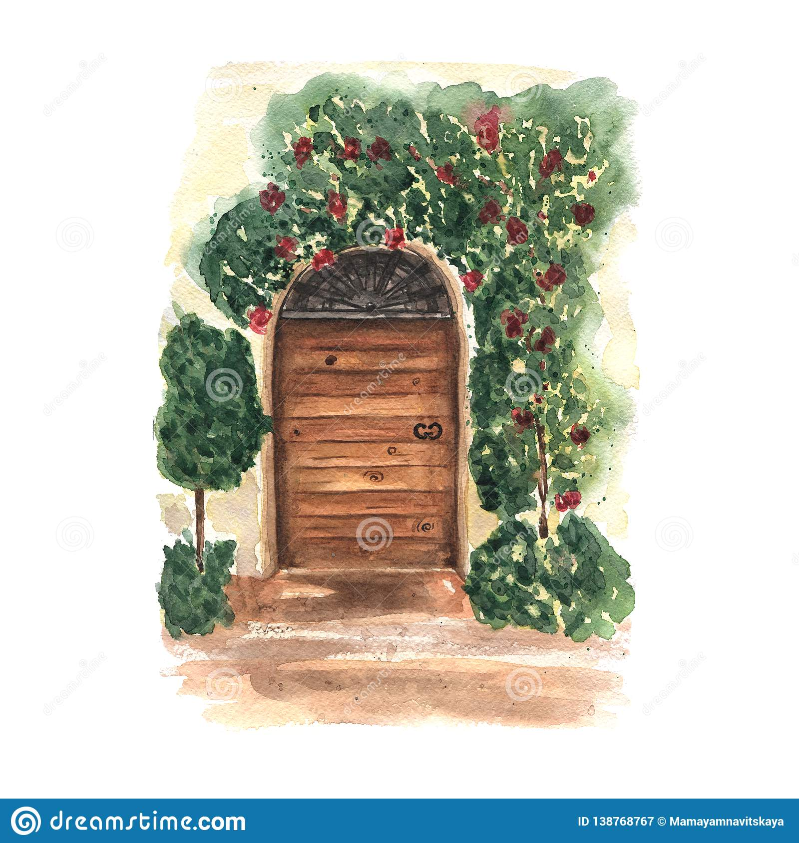Watercolor postcard with decorative floral old wooden door. Provence design. Italy romantic place.
