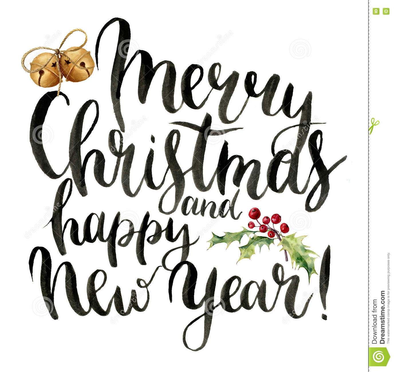 Watercolor Print Witn Merry Christmas And Happy New Year Lettering ...