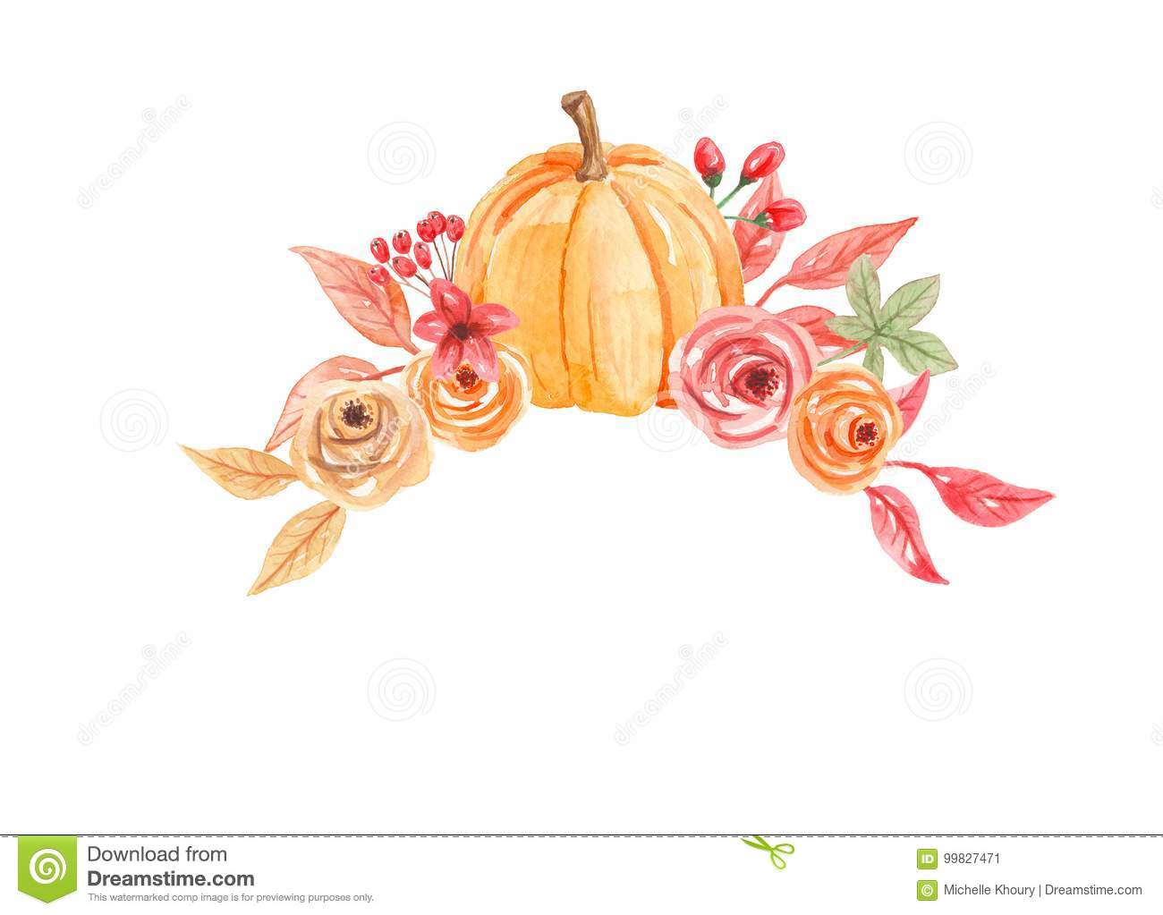 Watercolor Pumpkins Arch Flowers Hand Painted Fall Autumn Bouquet