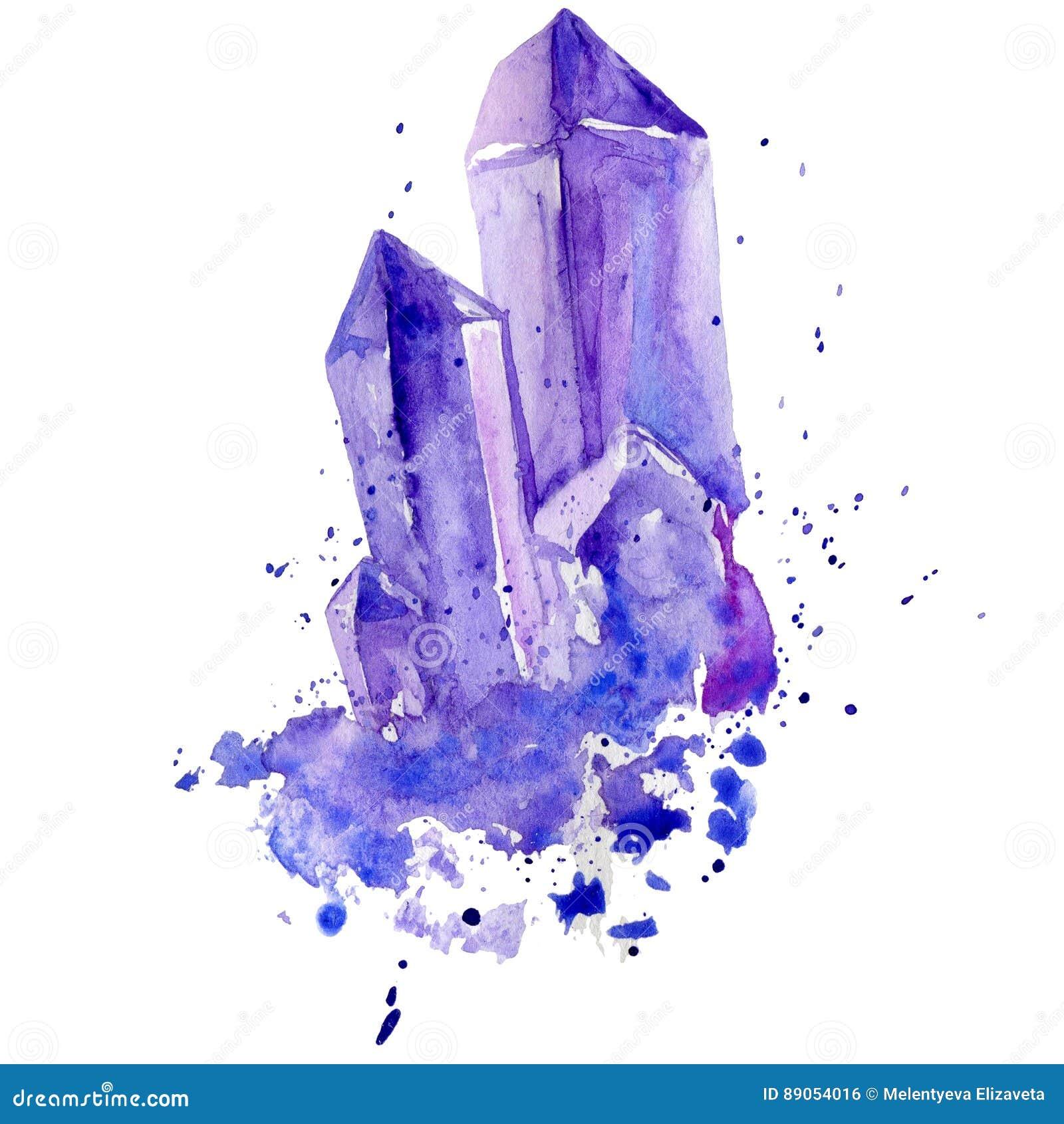 Watercolor Purple Crystal Amethyst Cluster Hand Drawn ...