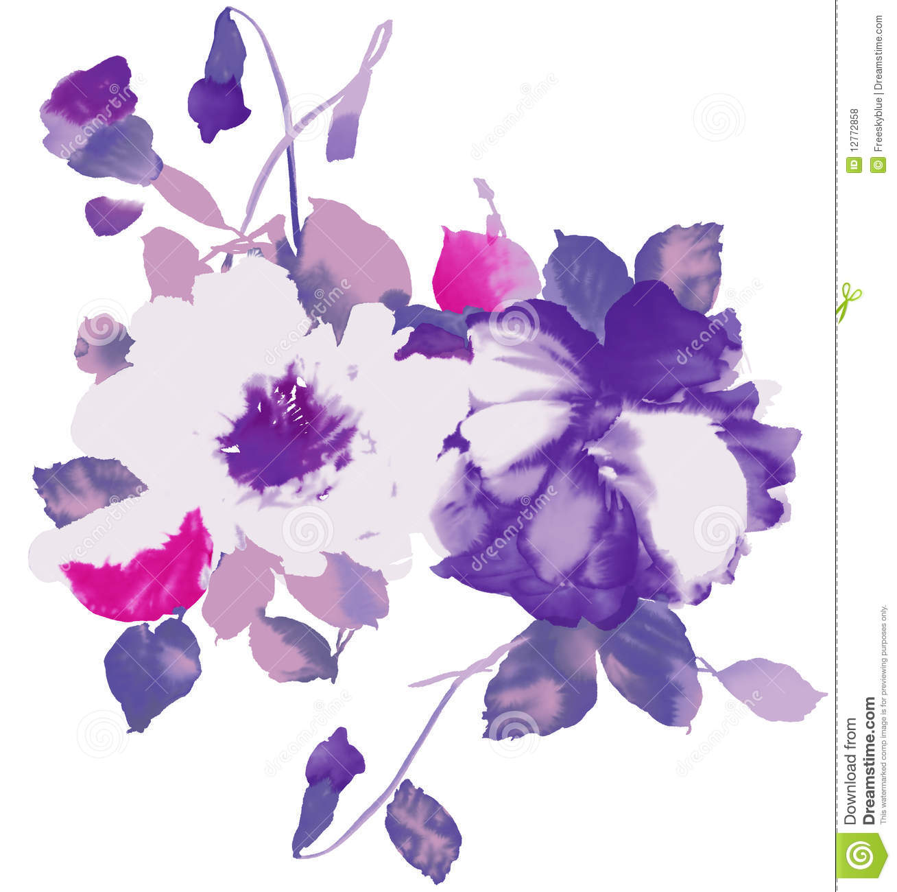 watercolor of purple floral stock illustration illustration of