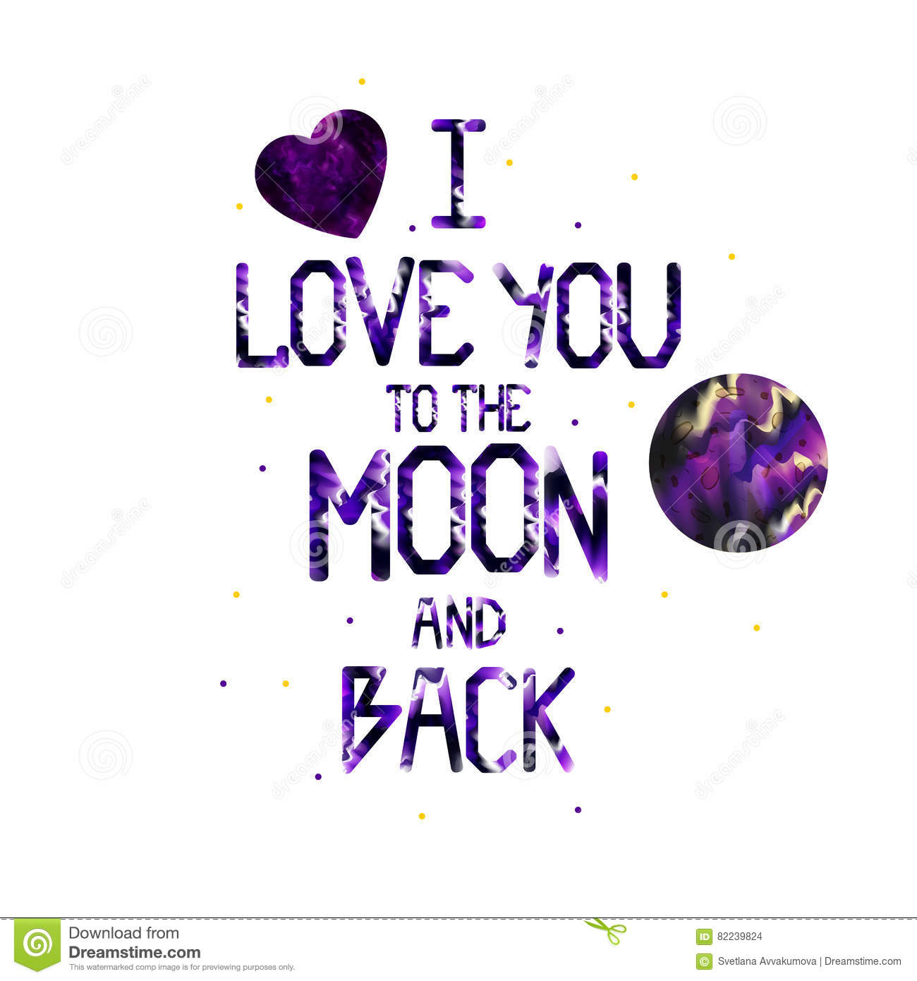 Quote I Love You To The Moon And Back Watercolor Quote I Love You To The Moon And Backstock Vector