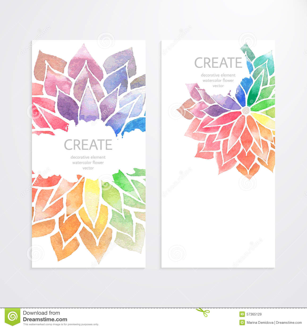 watercolor rainbow flowers  banners  flyers stock vector