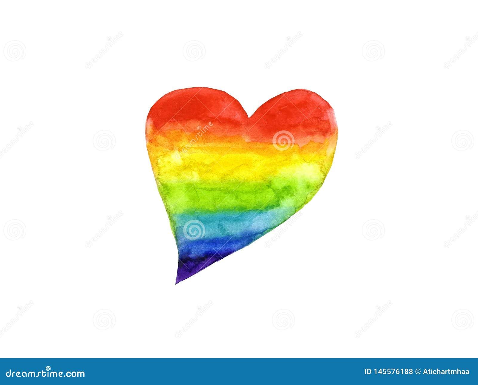 Watercolor rainbow heart symbol LGBT or Lesbian, Gay, Bisexual,Transgender