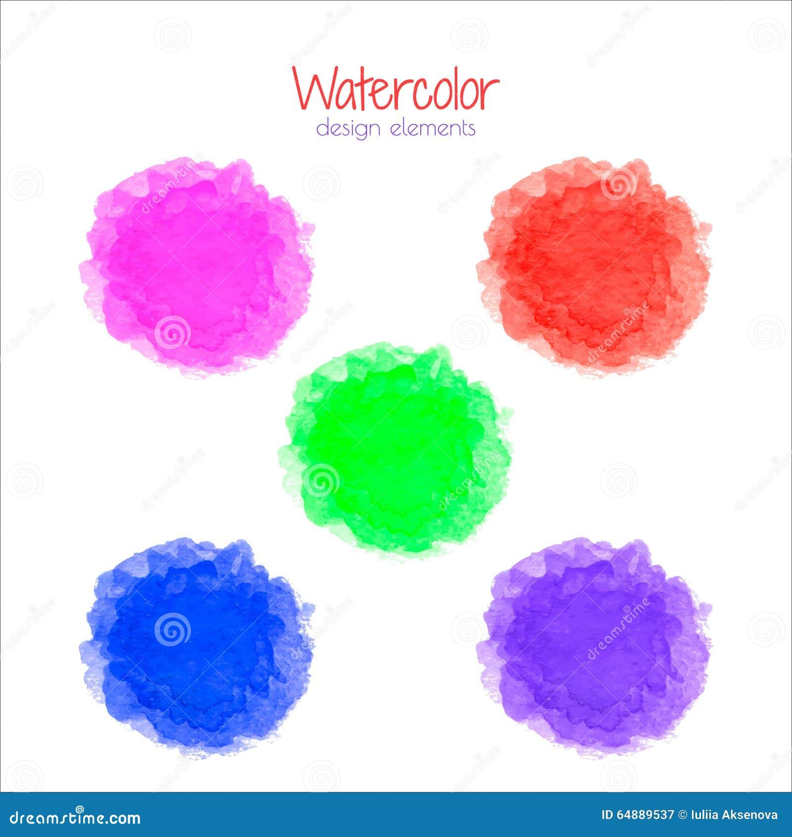 Pastel Purple Pink Green Blue Timber Wood Look: Watercolor Rainbow Spots Set Stock Vector