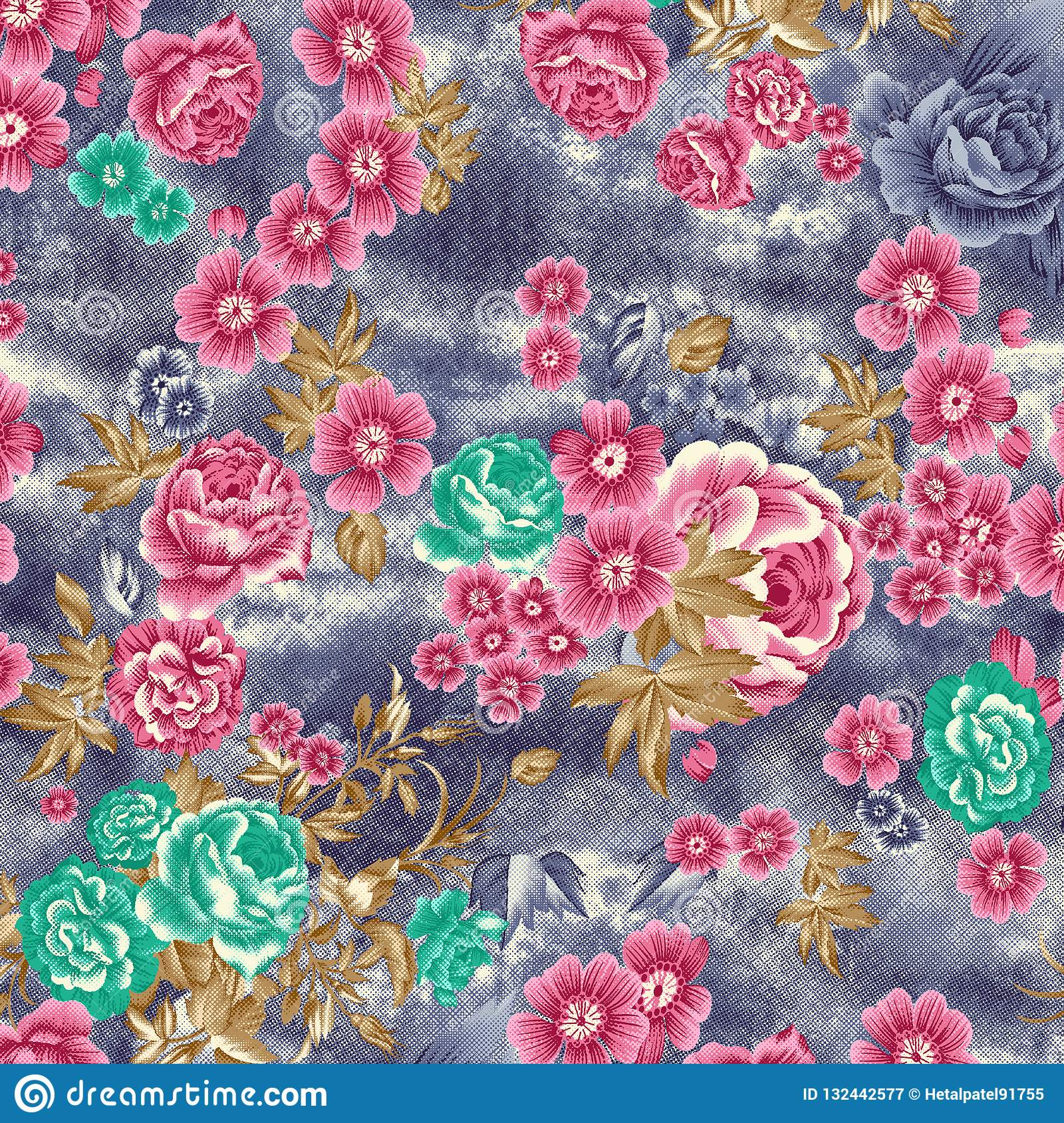 Watercolor raster flower pattern on texture