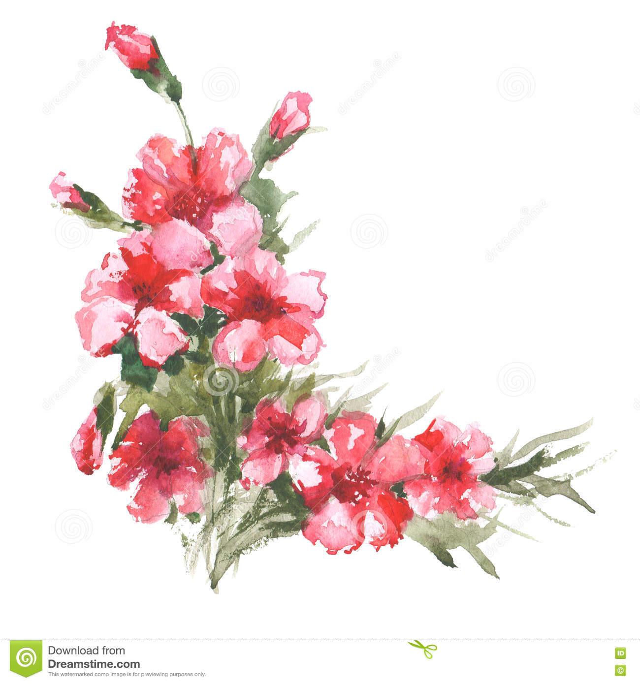 Watercolor Raster Illustration Of Flower Corner Stock For Designs