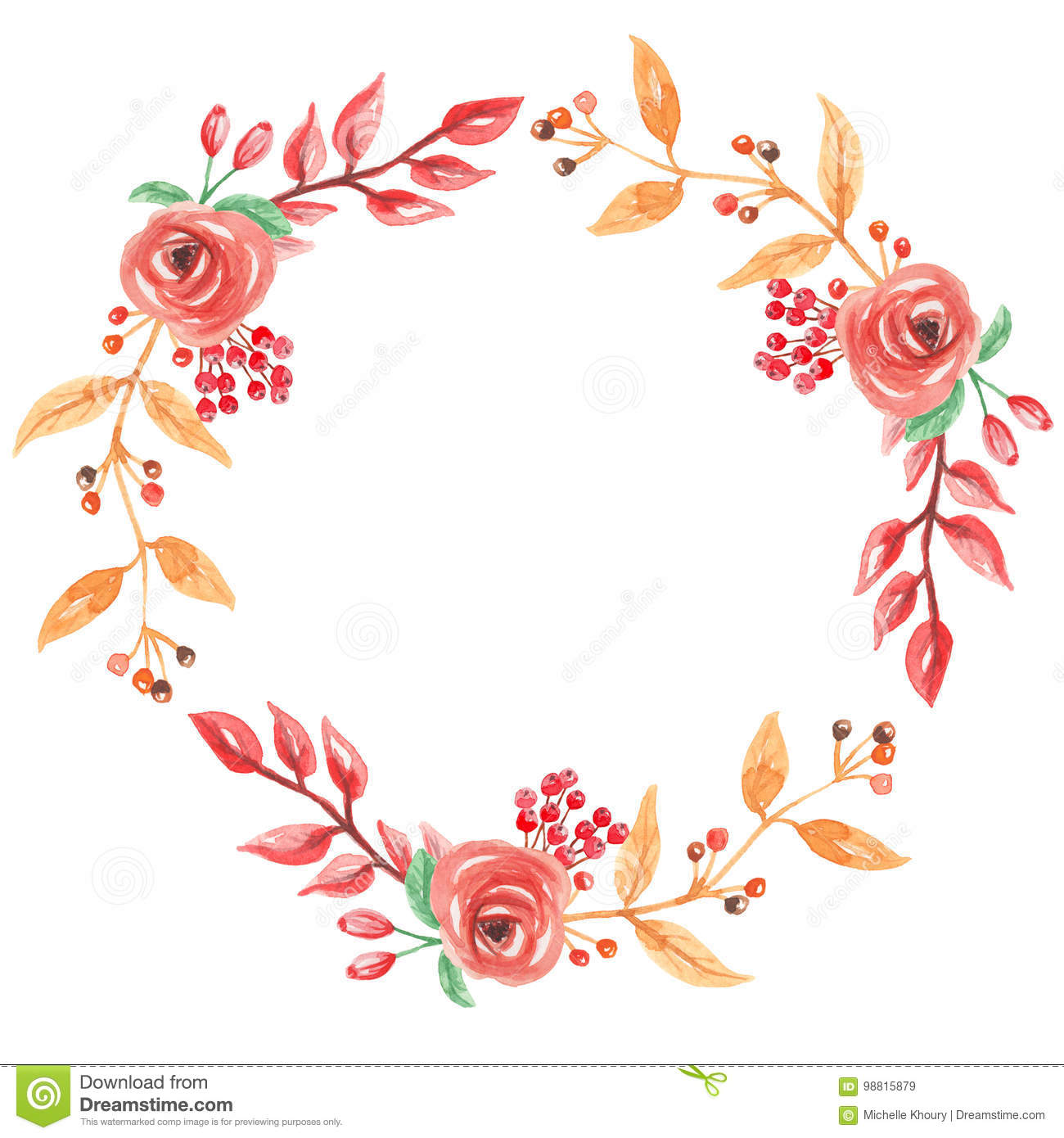 Watercolor Red Autumn Wreath Garland Frame Fall Leaves ...