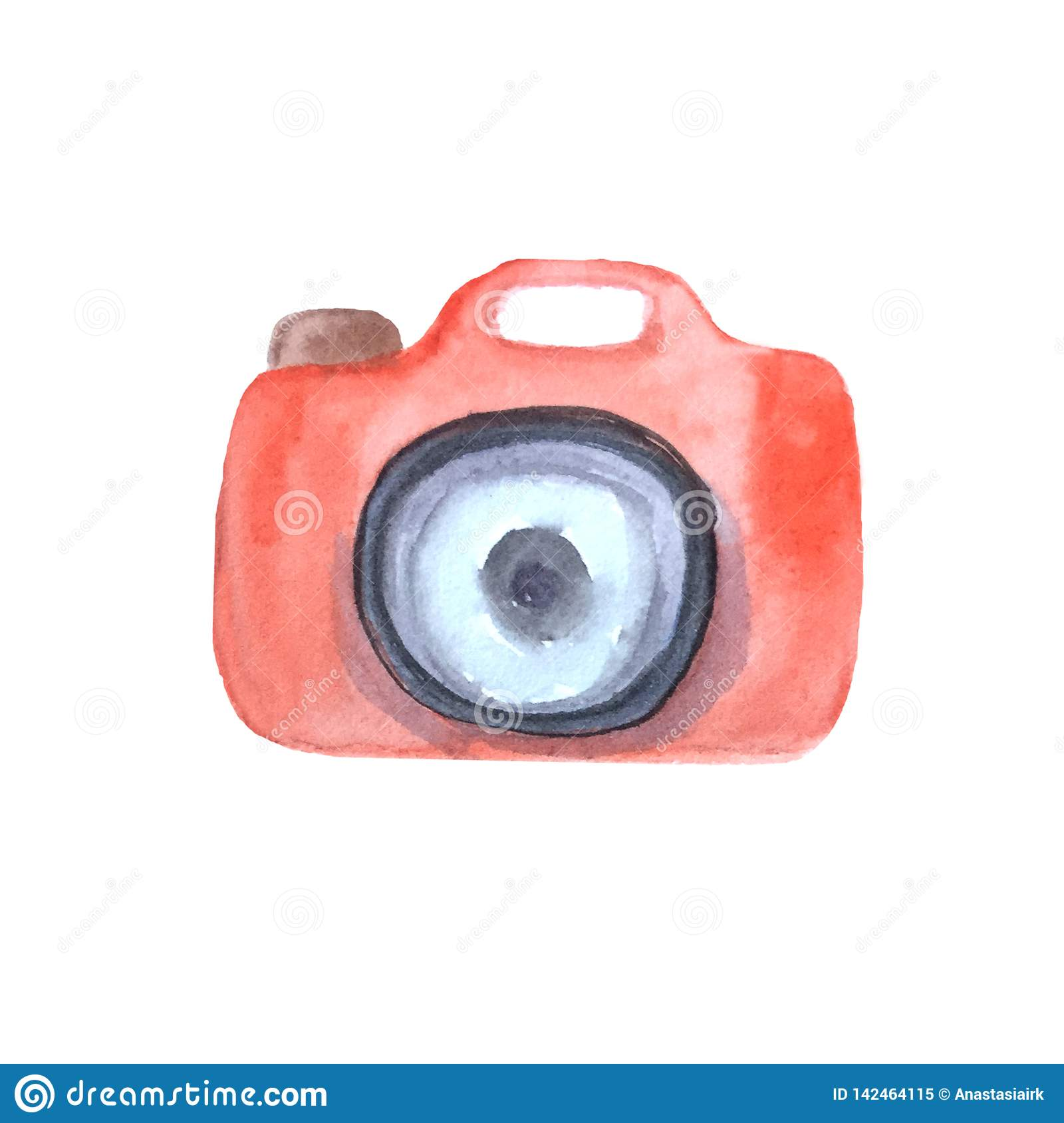 Watercolor red camera on white background.