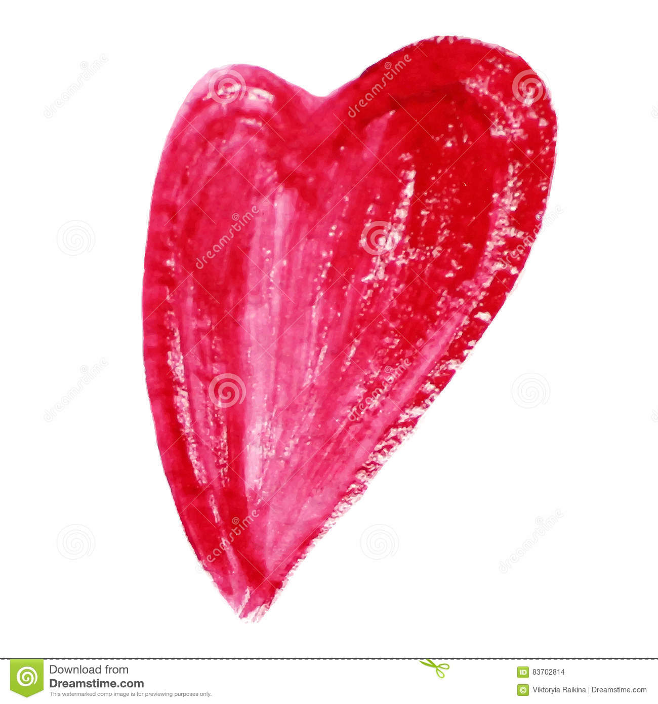 Watercolor red heart isolated on white background Holiday Valentines day card Ręka obraz - wektor