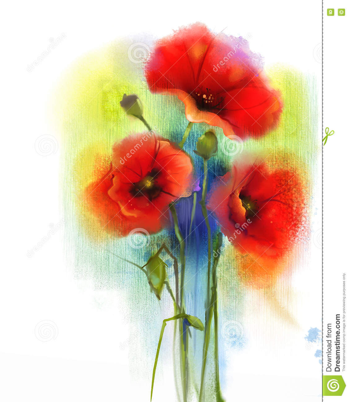 Watercolor Red Poppy Flower Painting Stock Illustration