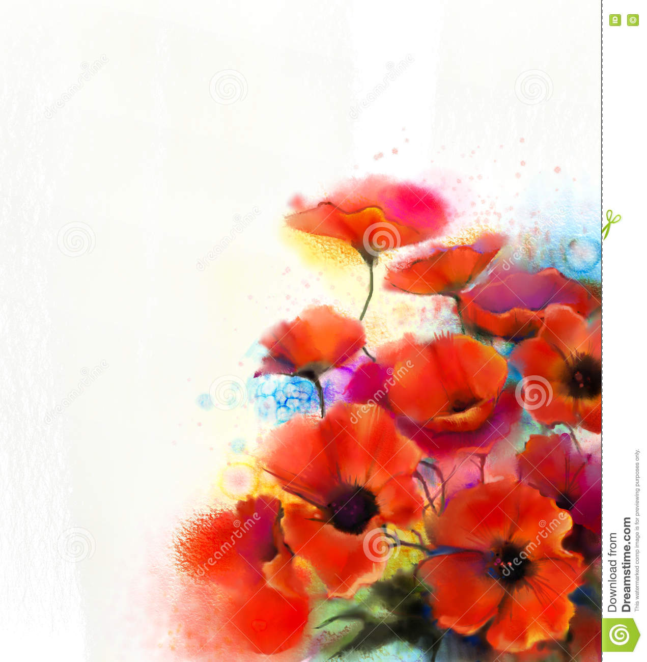 Watercolor red poppy flower painting hand paint poppies - How to paint poppy flowers ...