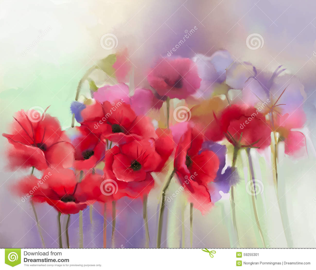 Watercolor red poppy flowers painting stock illustration watercolor red poppy flowers painting mightylinksfo