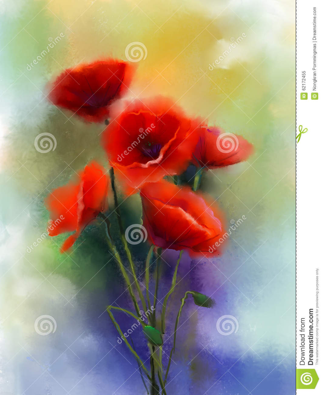 Watercolor red poppy flowers painting stock illustration download comp mightylinksfo