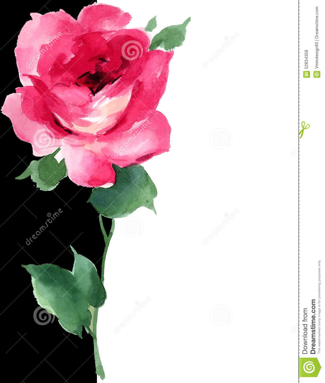 Watercolor Red Rose Floral Painting Art Deco Black And White