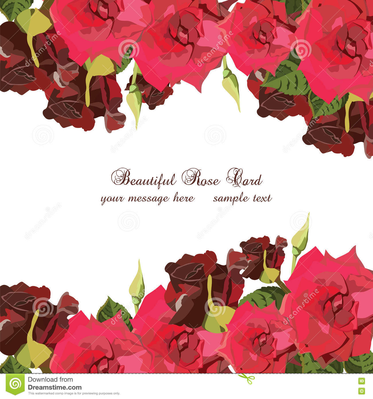 Watercolor Red Roses card stock vector. Illustration of long - 75795157