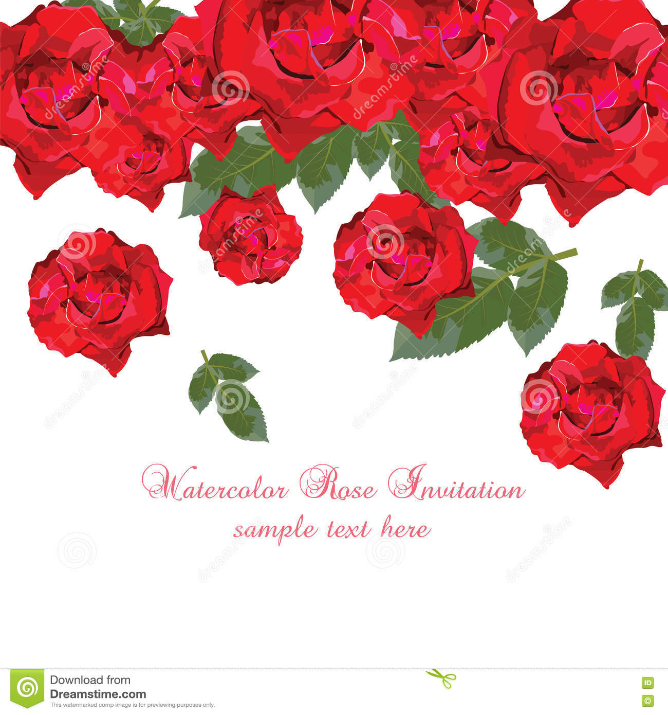 Watercolor Red Roses card stock vector. Illustration of painting ...
