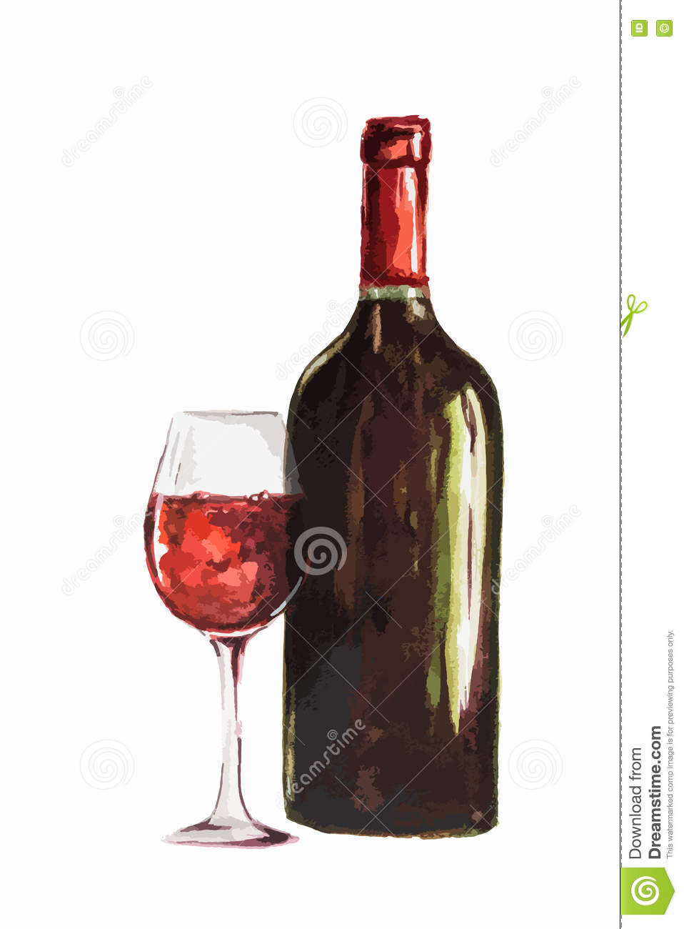red wine bottle with glass. Isolated painted bottle of red wine ...