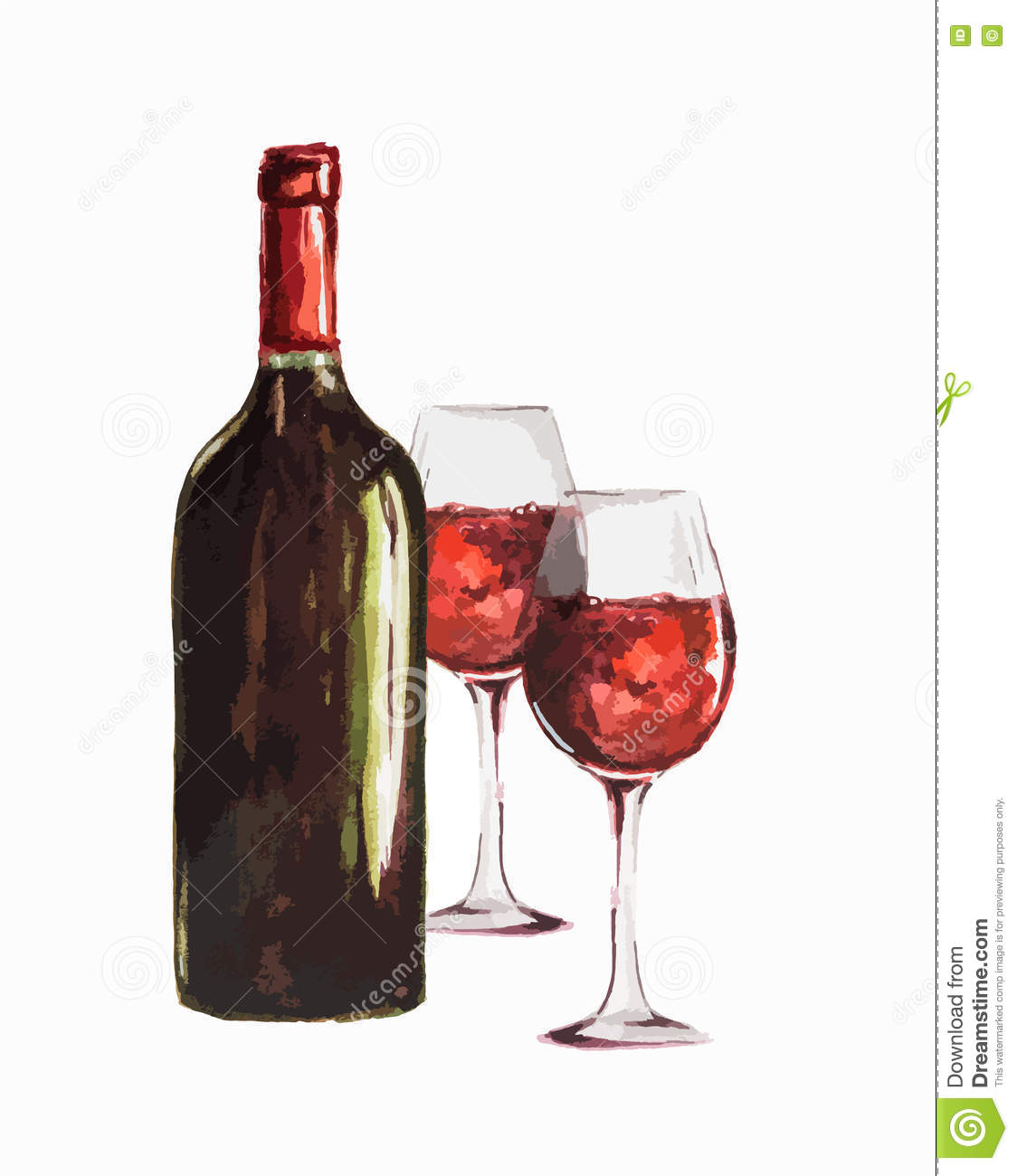 Watercolor Red Wine Bottle Stock Vector Illustration Of Funky Retro 74790196