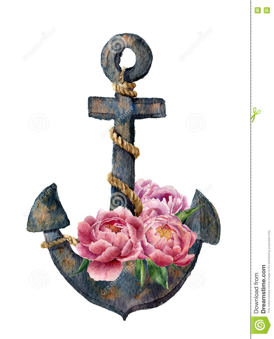 Watercolor Retro Anchor With Rope And Peony Flowers