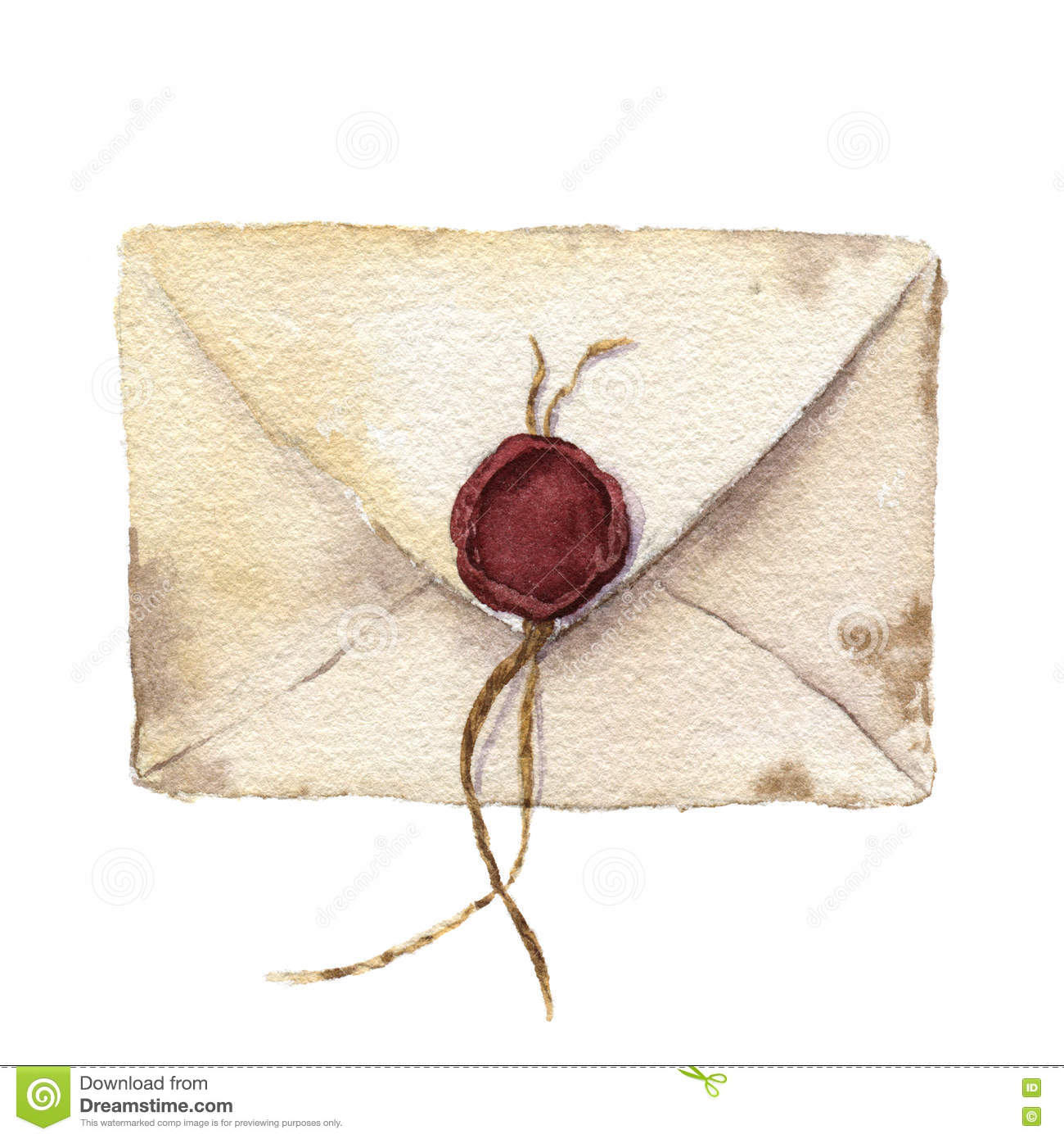 Watercolor Retro Envelope With Sealing Wax Vintage Mail