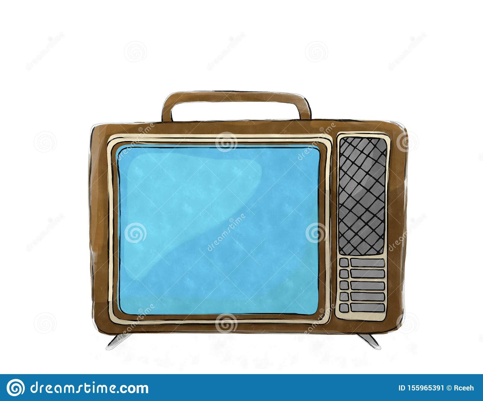 Watercolor retro tv set