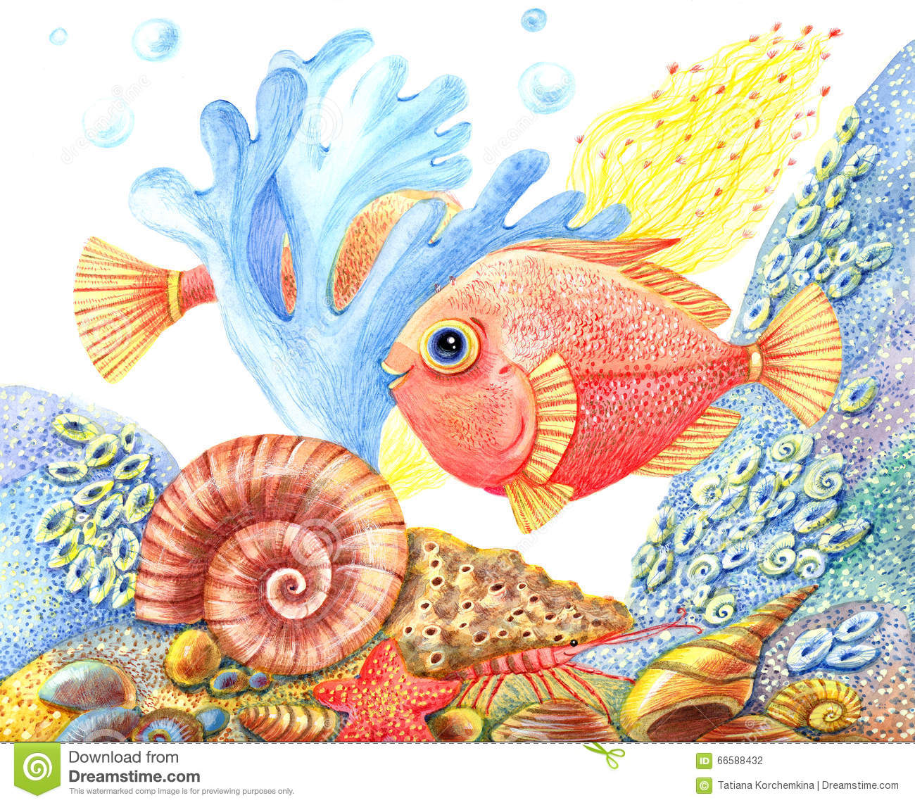 Watercolor Retro Underwater World With A Fish Stock ...