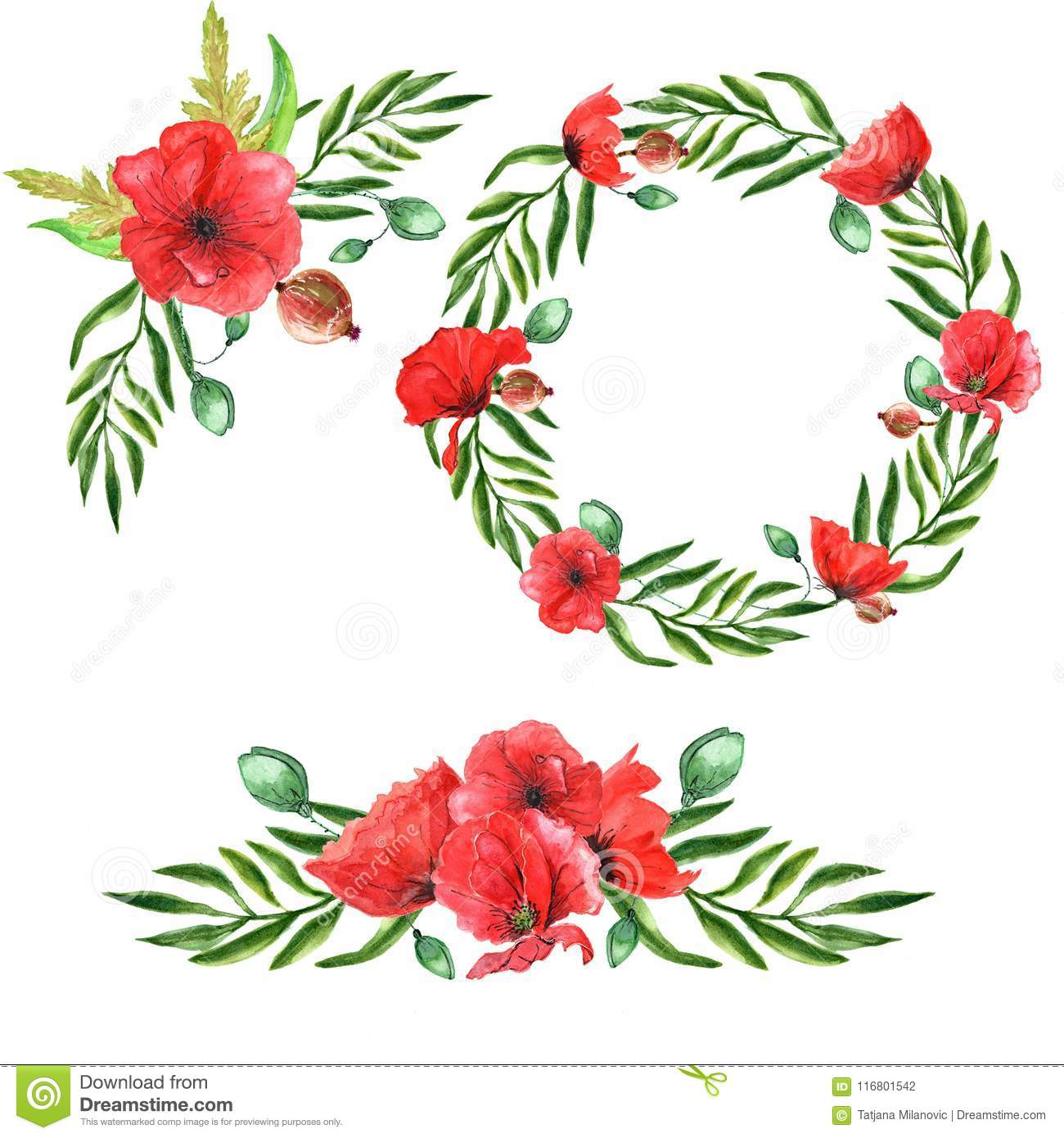 Watercolor Poppies Wreath And Bouquets, Set Of 3 Stock Illustration ...