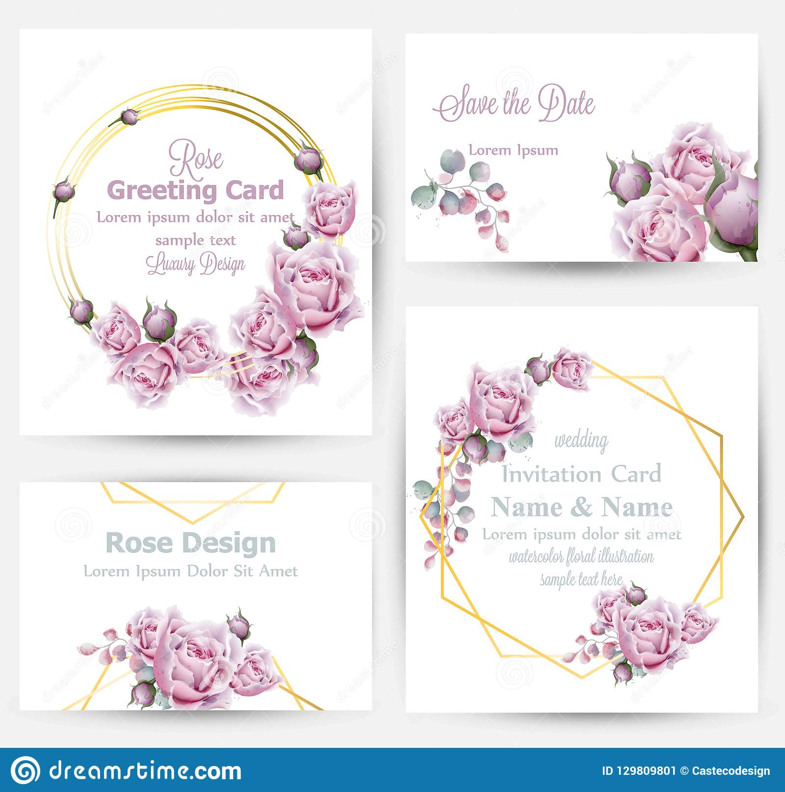 Watercolor rose flowers cards set collection Vector. Vintage greeting or buisiness card, wedding invitation, thank you