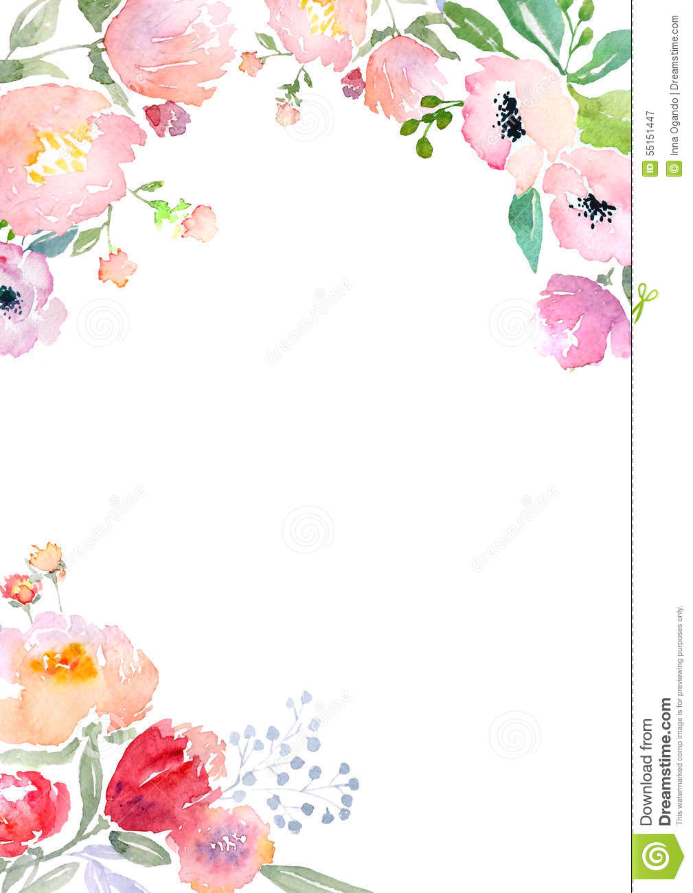 watercolor roses card template stock illustration