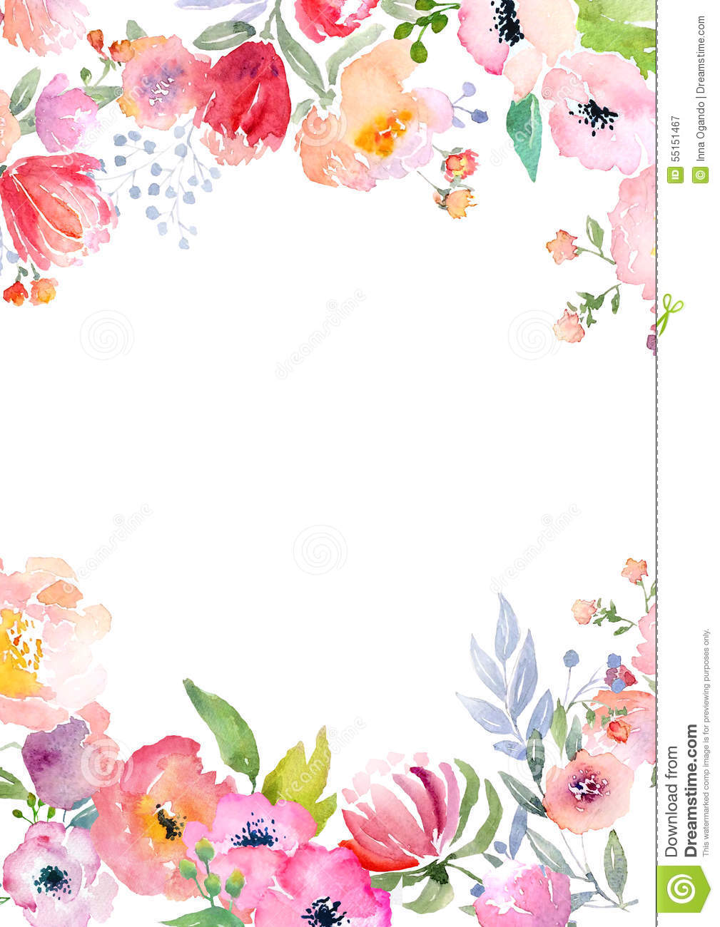 Card template with watercolor roses. Blank space for your text ...