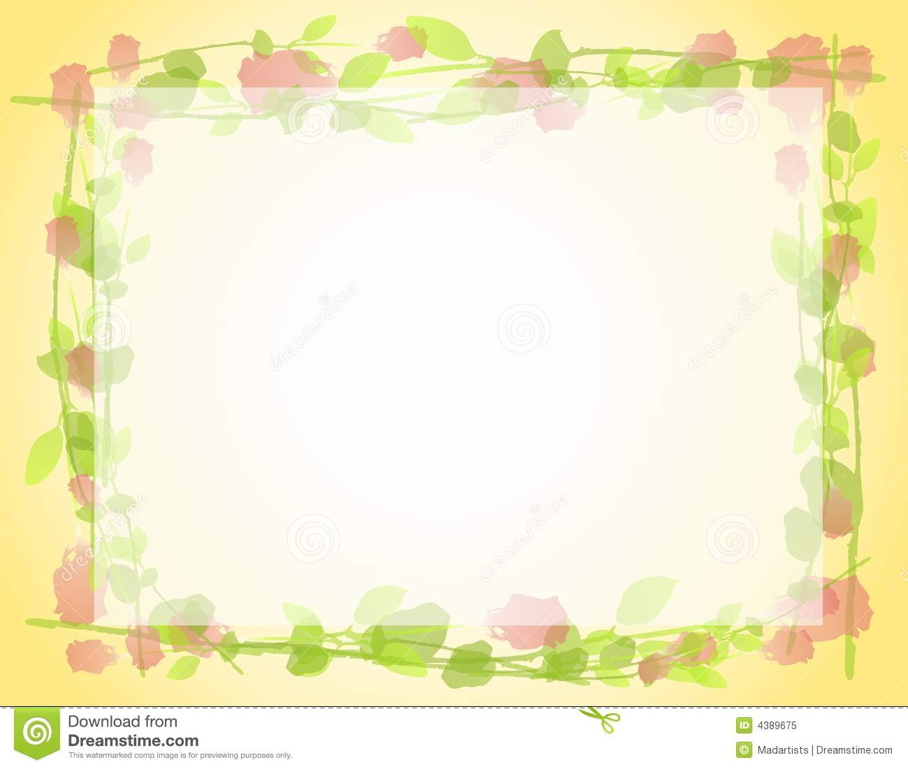 Watercolor Roses Frame Border 2 Royalty Free Stock Photo
