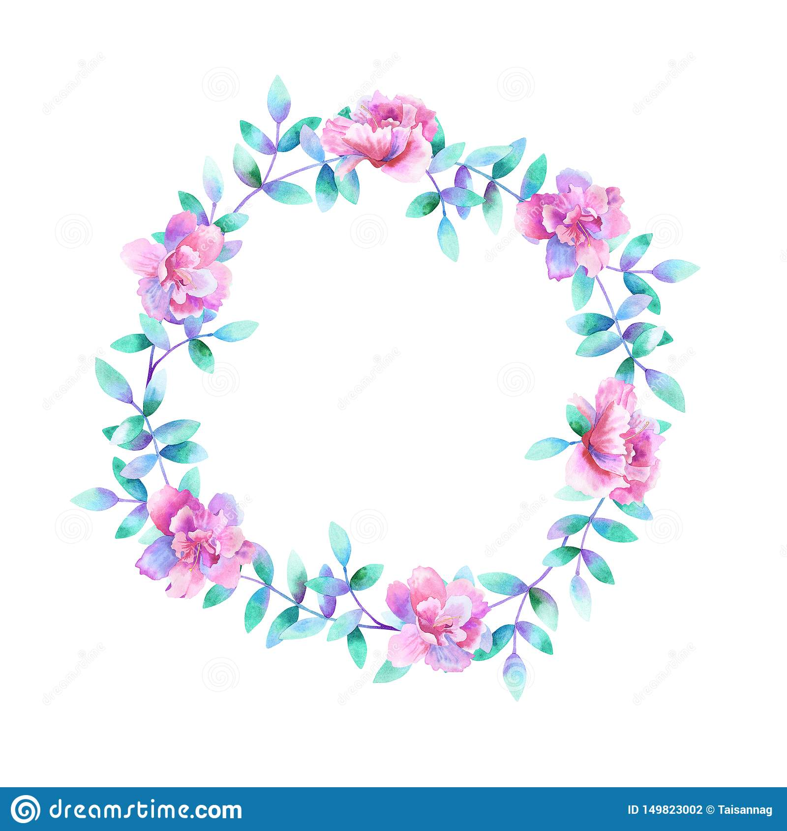 Watercolor round floral frame. Template for design. Perfect for wedding invitations, greeting cards, natural cosmetics