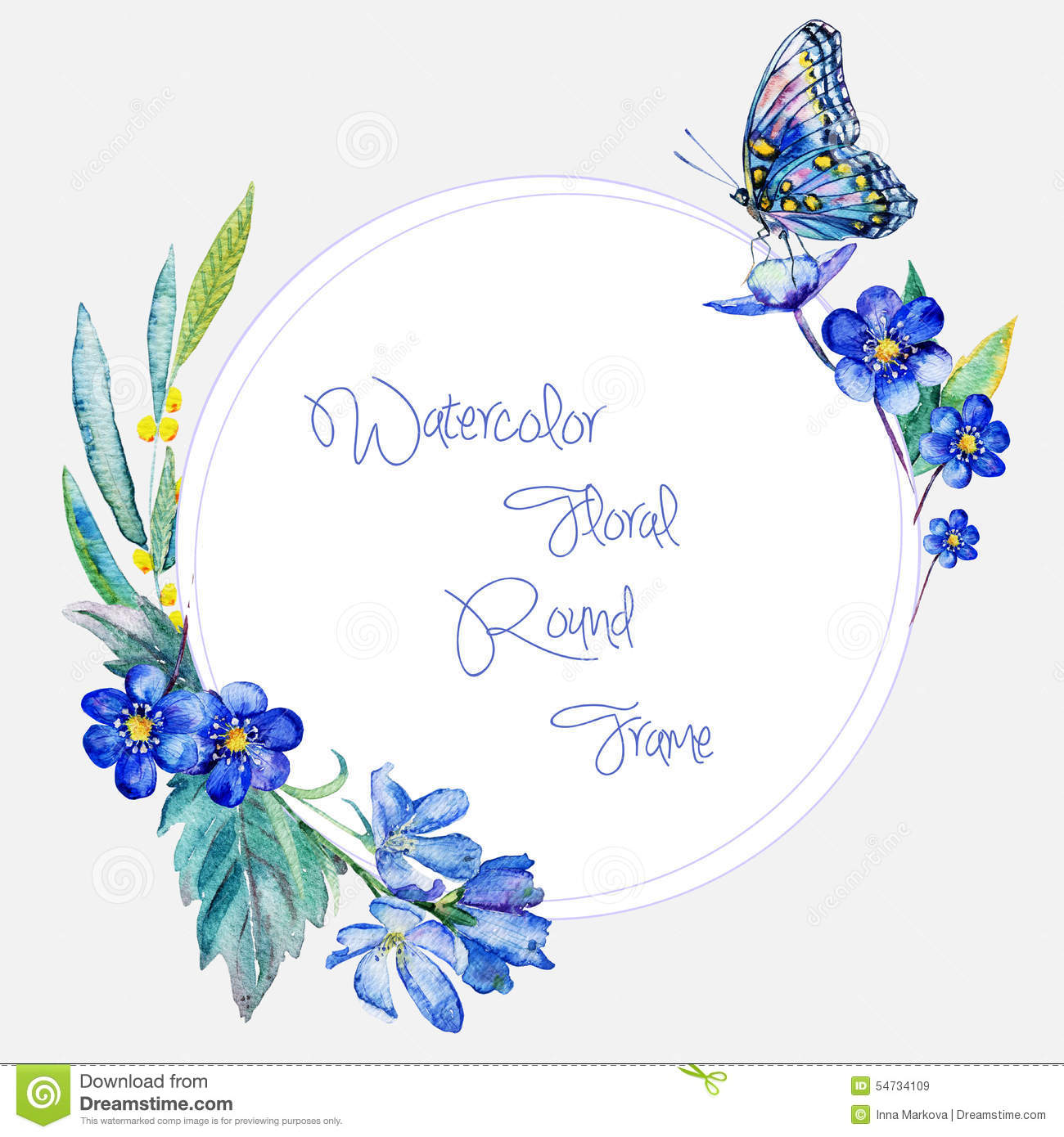 Romantic Designs Watercolor Round Frame Of Blue Flowers And Butterfly
