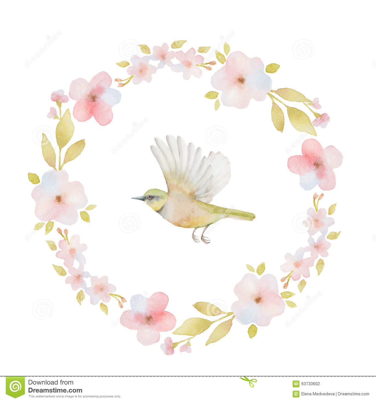 Watercolor round frame of spring flowers and a stock for Spring flowers watercolor