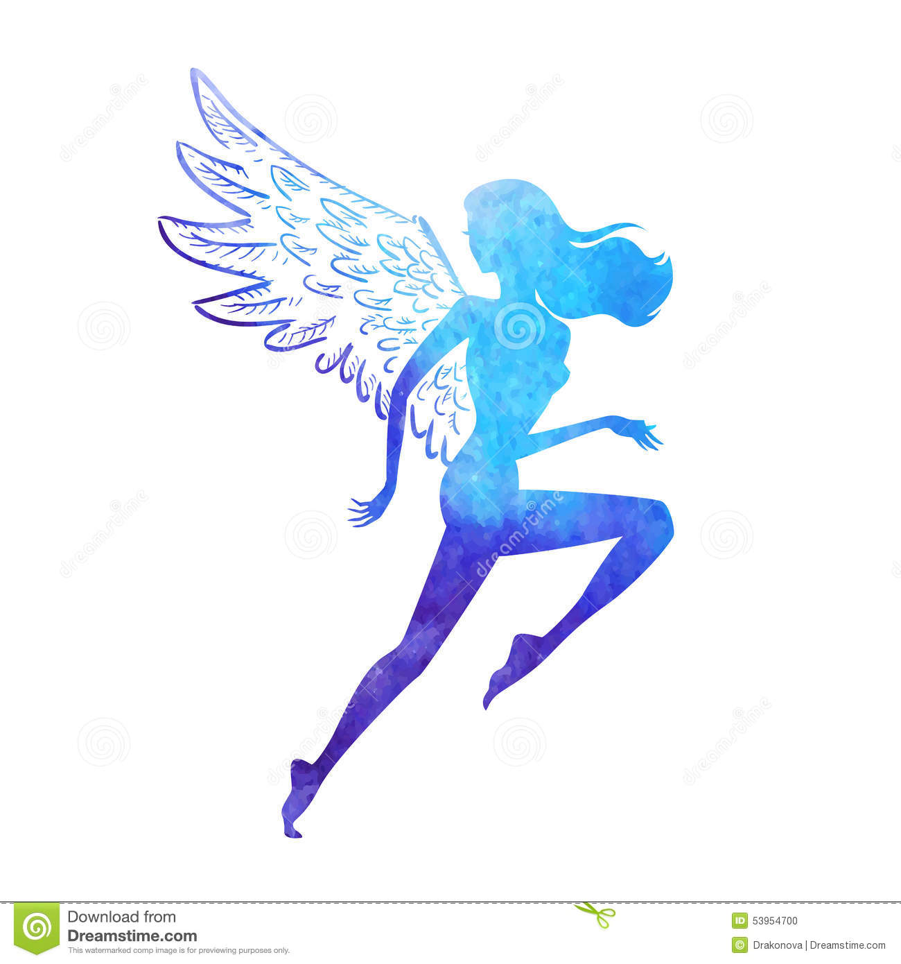 ... running woman silhouette of watercolor paint texture shape with wings