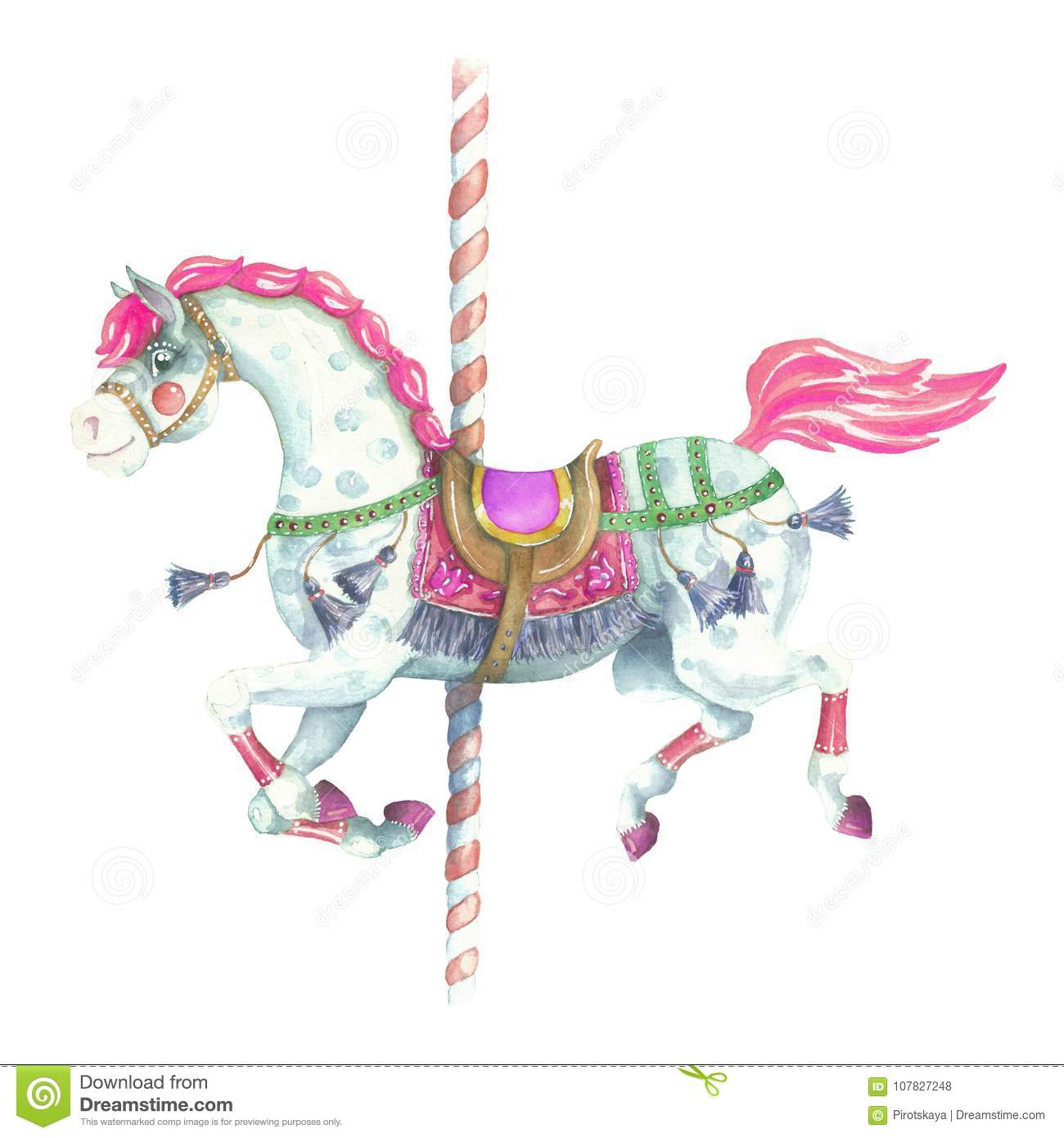 Watercolor Running Purple Carousel Horse Stock Illustration Illustration Of Freehand Merrygoround 107827248