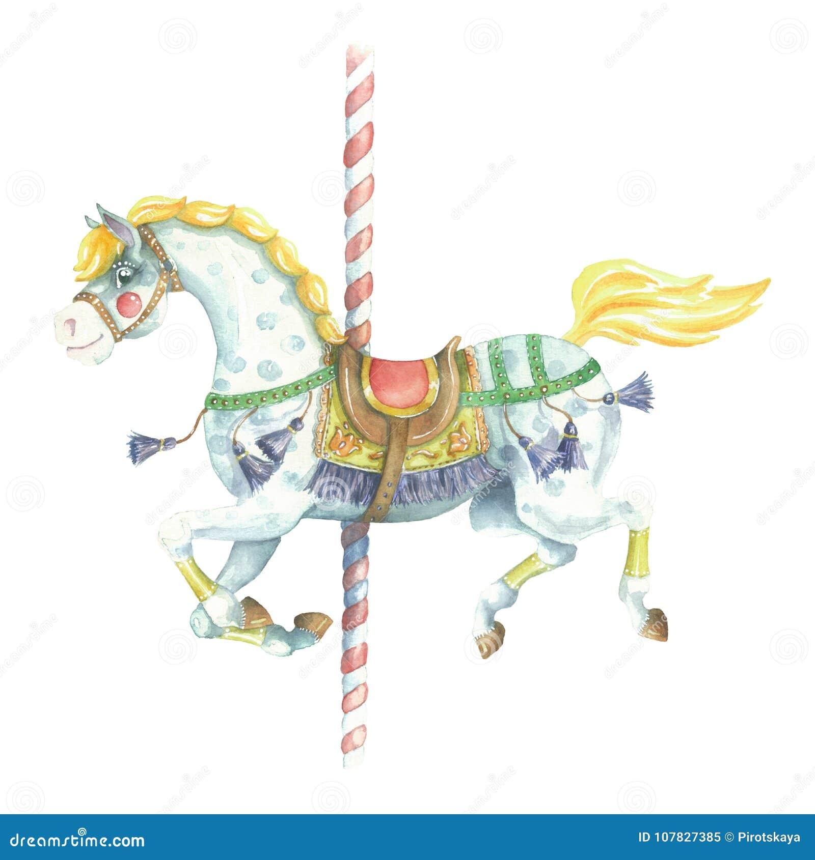 Watercolor Running Yellow Carousel Horse Stock Illustration Illustration Of Park Bohemian 107827385