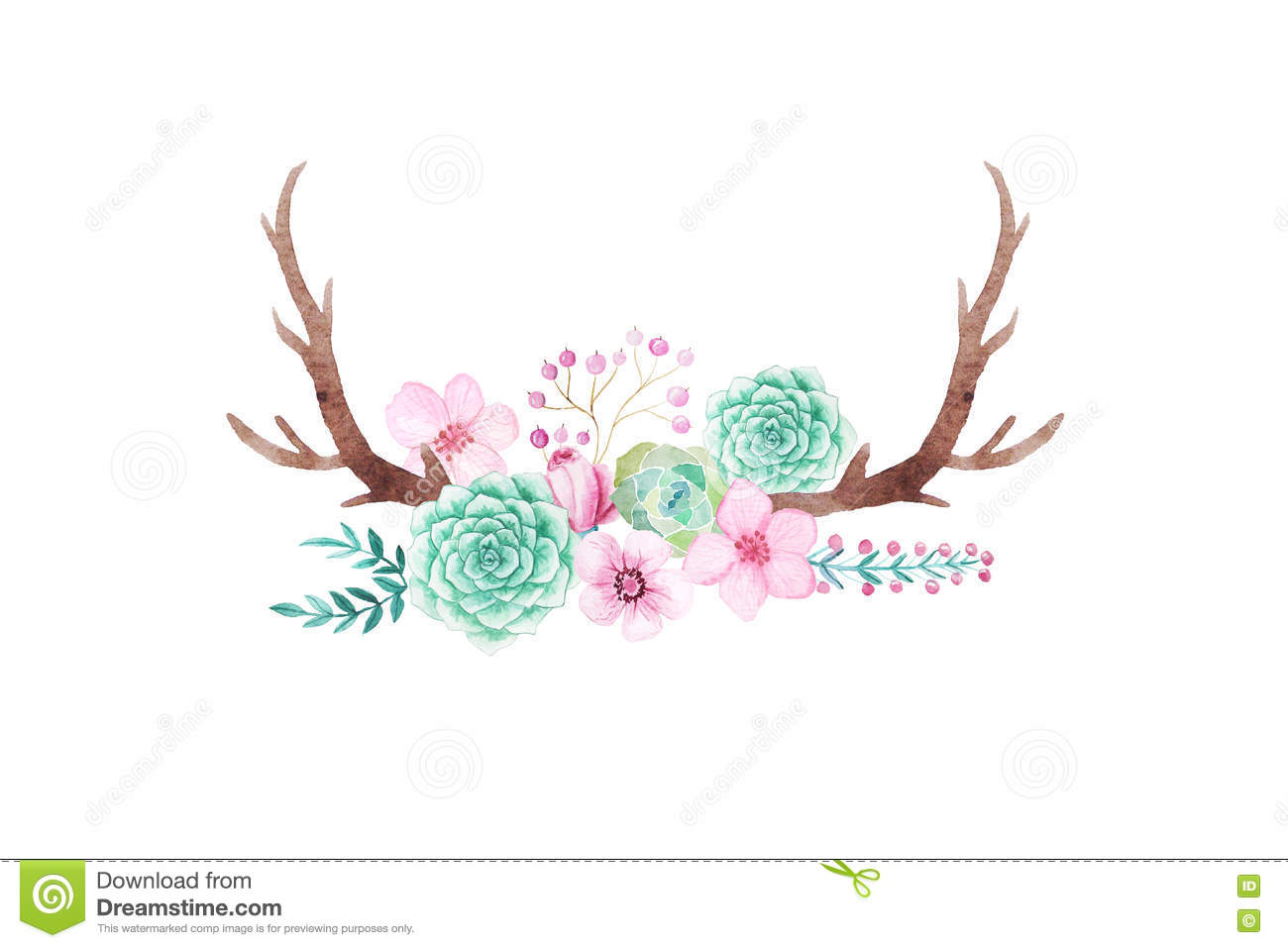 Watercolor Rustic Set Of Flowers And Leaves Stock Illustration - Image ...