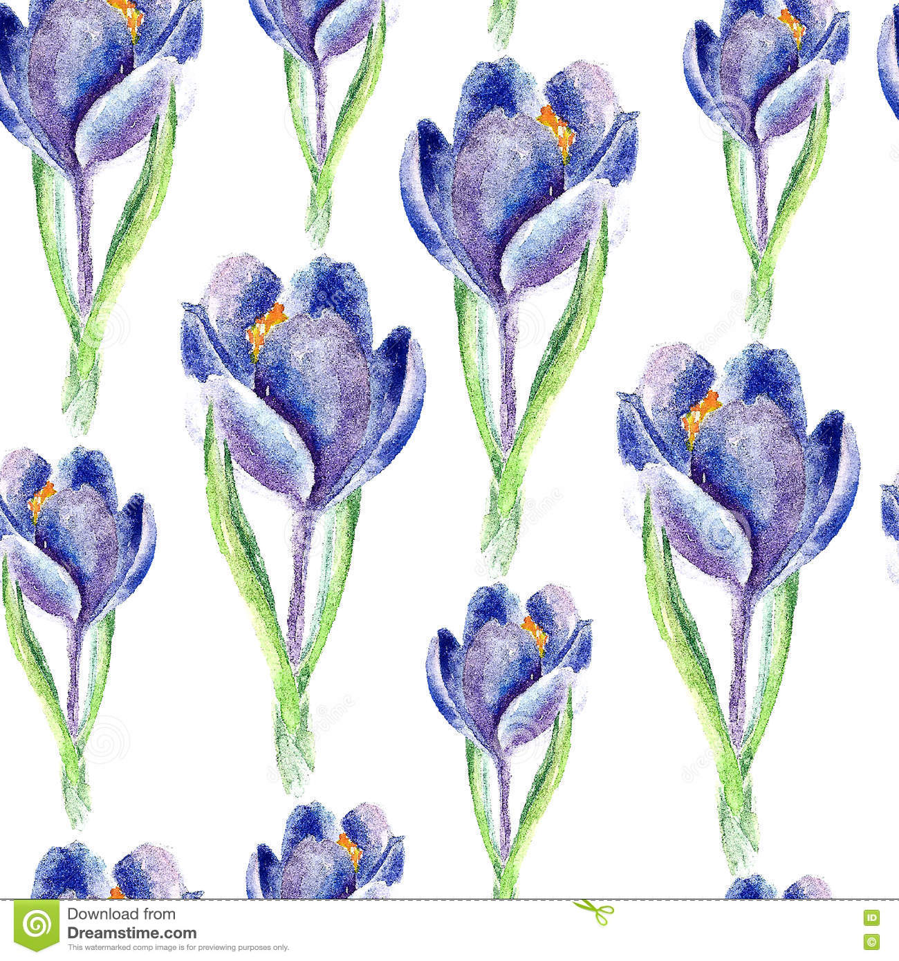 Watercolor saffron herb. seamless pattern