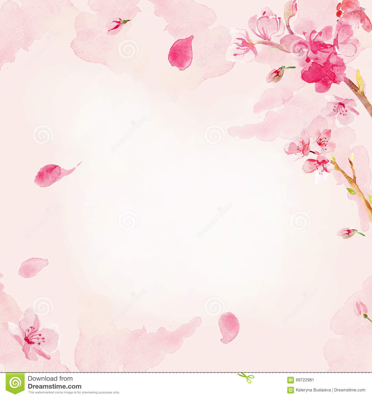 watercolor sakura flower background stock illustration