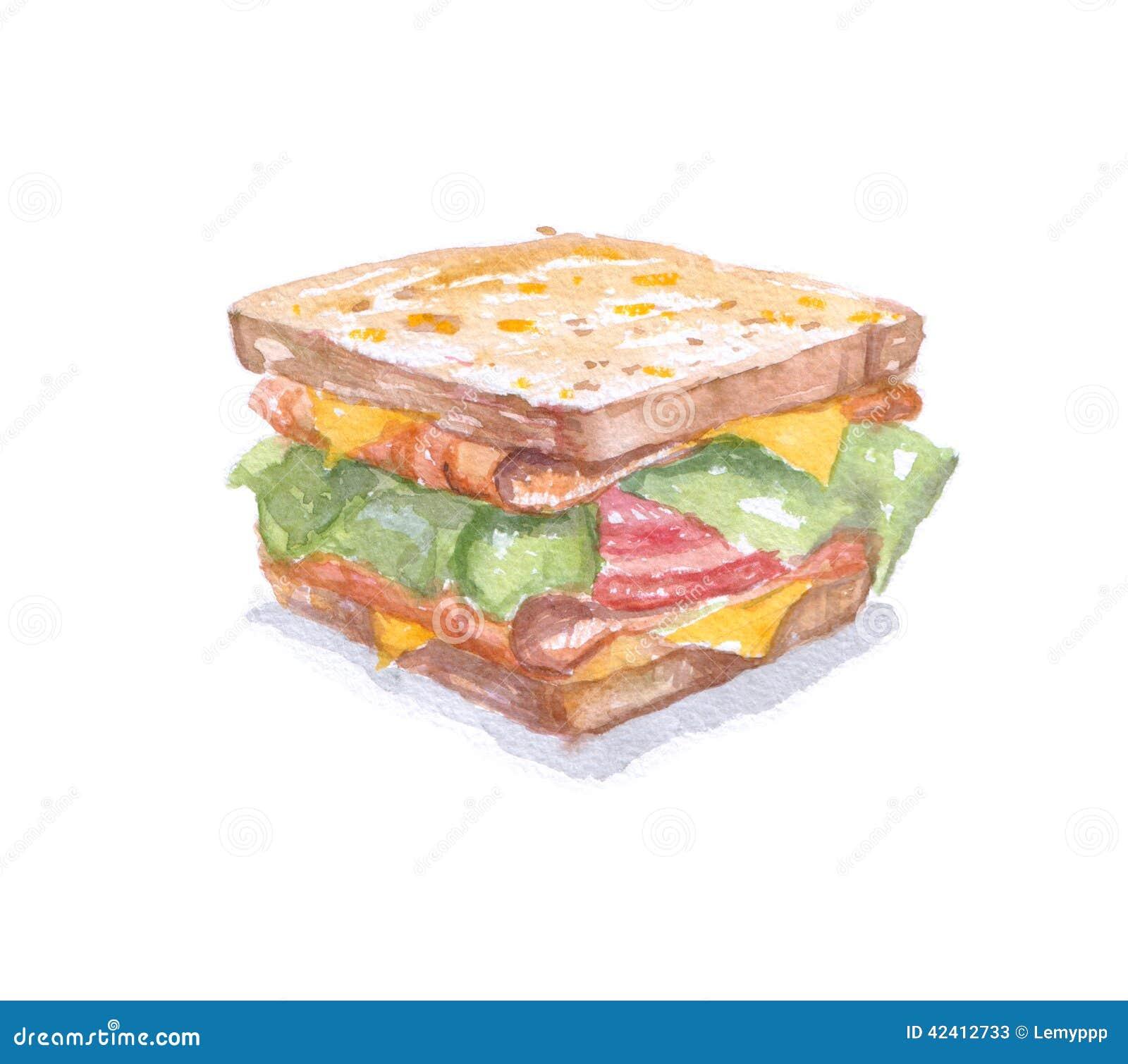 Watercolor Sandwich  T...