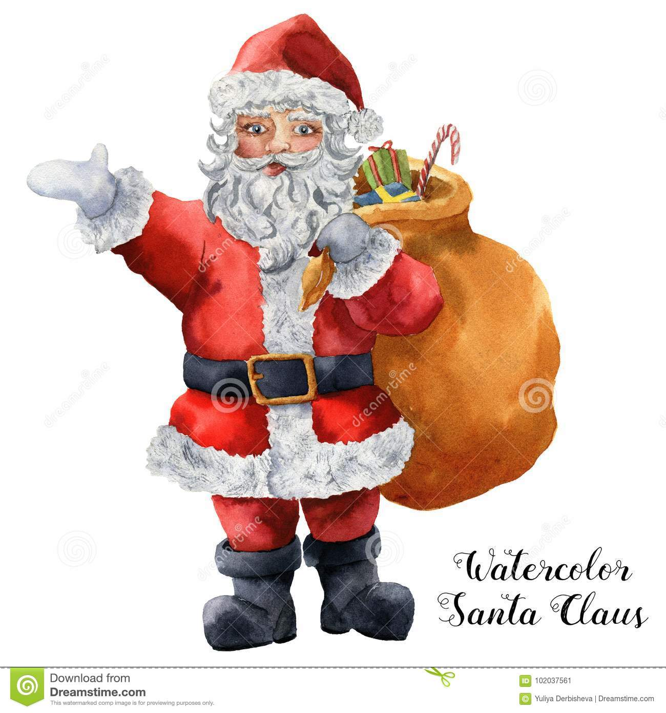 graphic about Santa Claus Printable Pictures named Watercolor Santa Claus. Hand Painted Xmas Identity