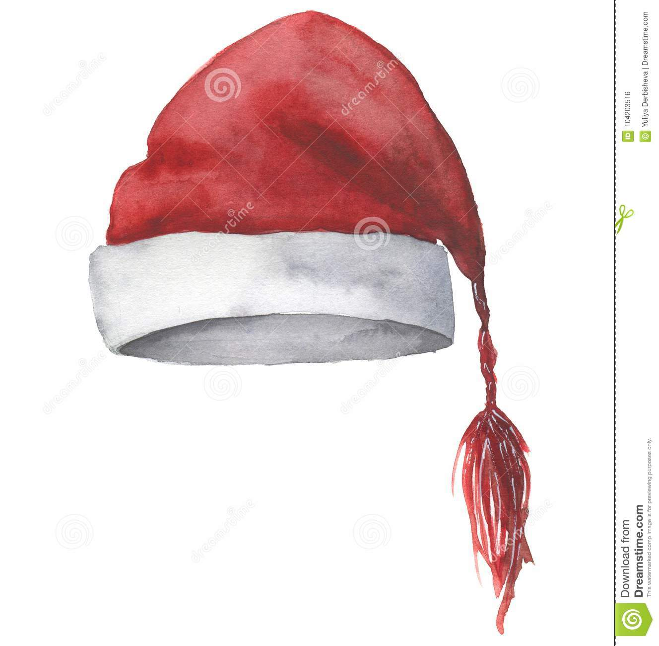 7f9334af252 Watercolor Santa hat. Hand painted Christmas red hat isolated on white  background. Winter illustration for design. Holiday print.