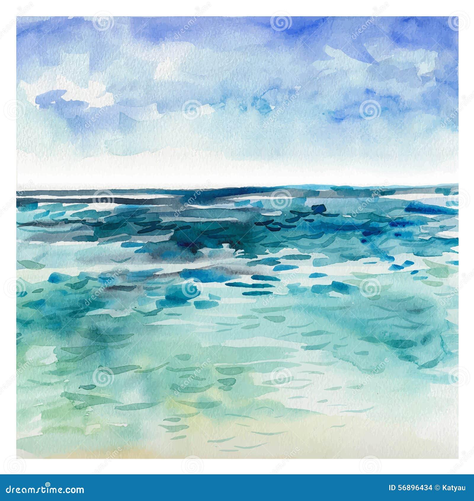 Watercolor Sea Background Stock Vector Image 56896434