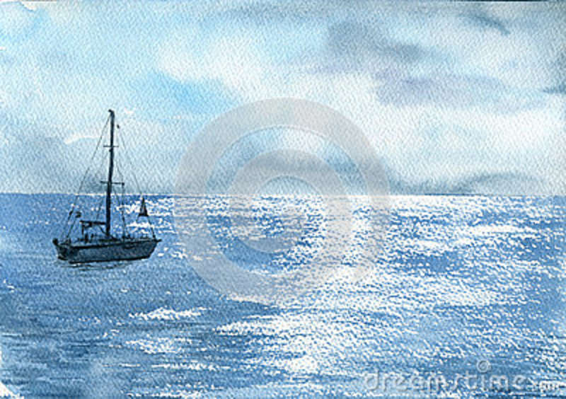 7a999dbb5 Watercolor sea boat and cloudy sky, yacht and solar flares at waves, hand  drawn landscape