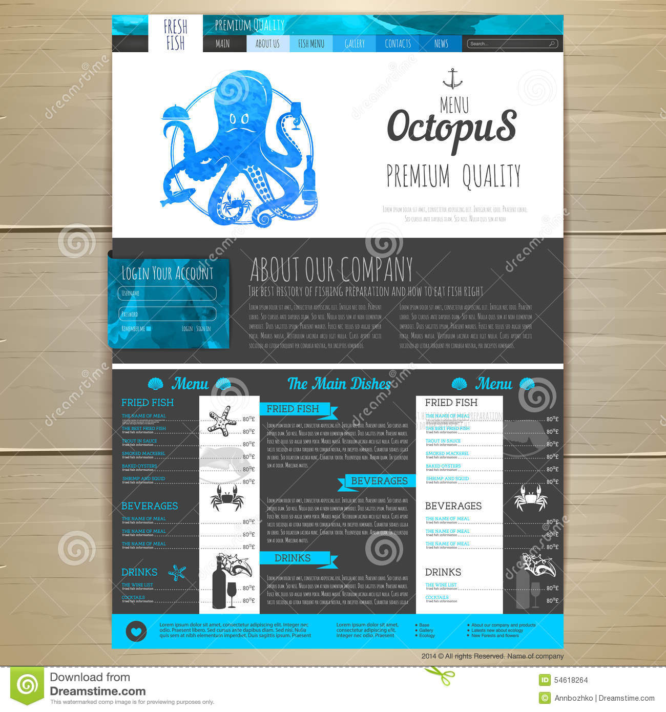 Watercolor seafood concept design corporate identity