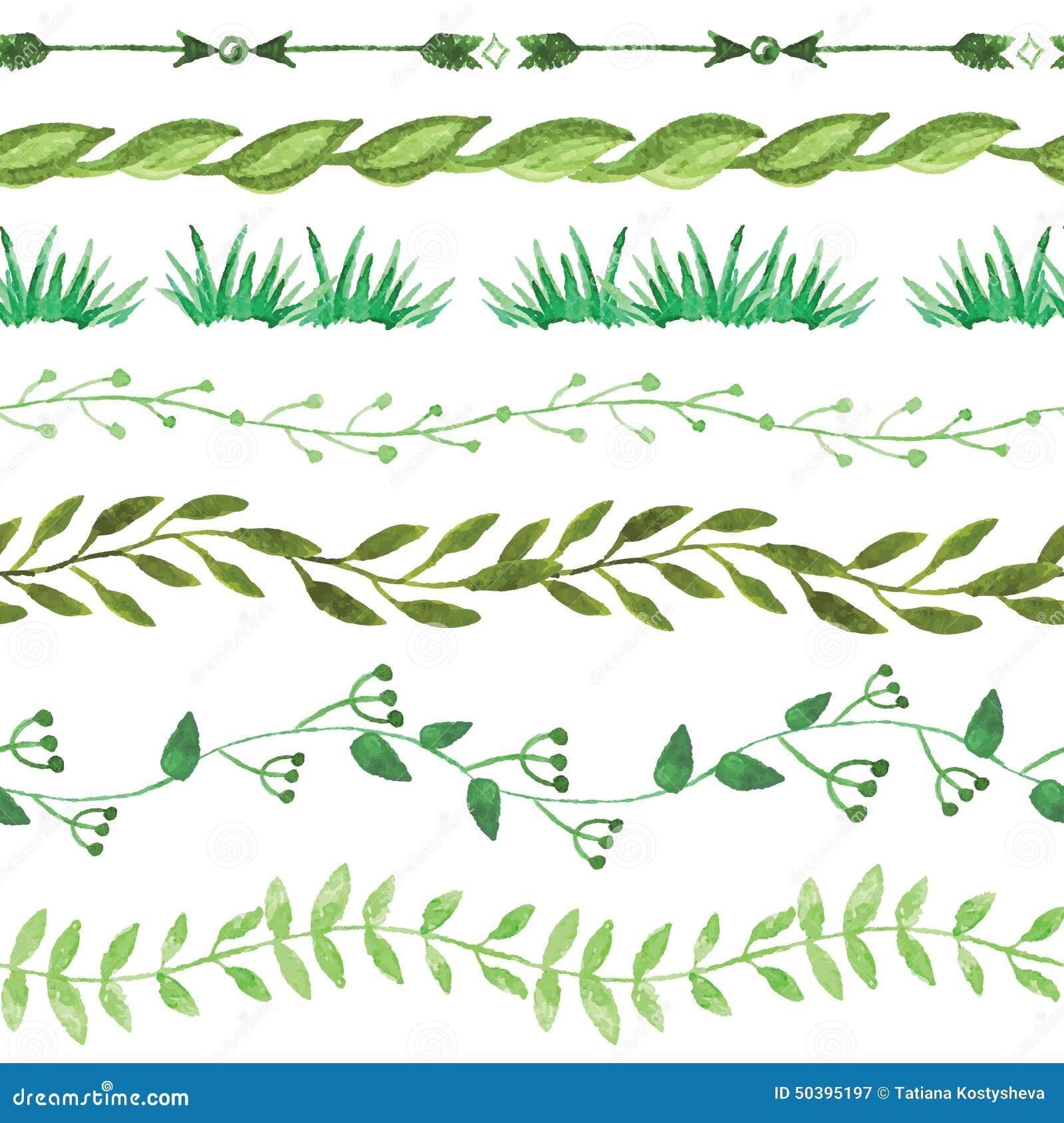 Green Leaf Border Line Watercolor Seamless Bo...