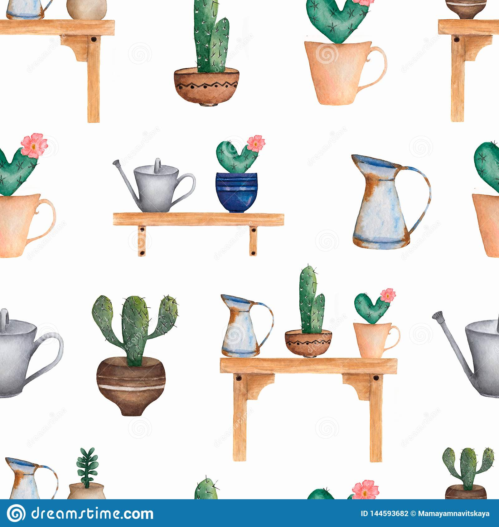 Magnificent Watercolor Seamless Cacti Flower Pattern Hand Drawn Caraccident5 Cool Chair Designs And Ideas Caraccident5Info