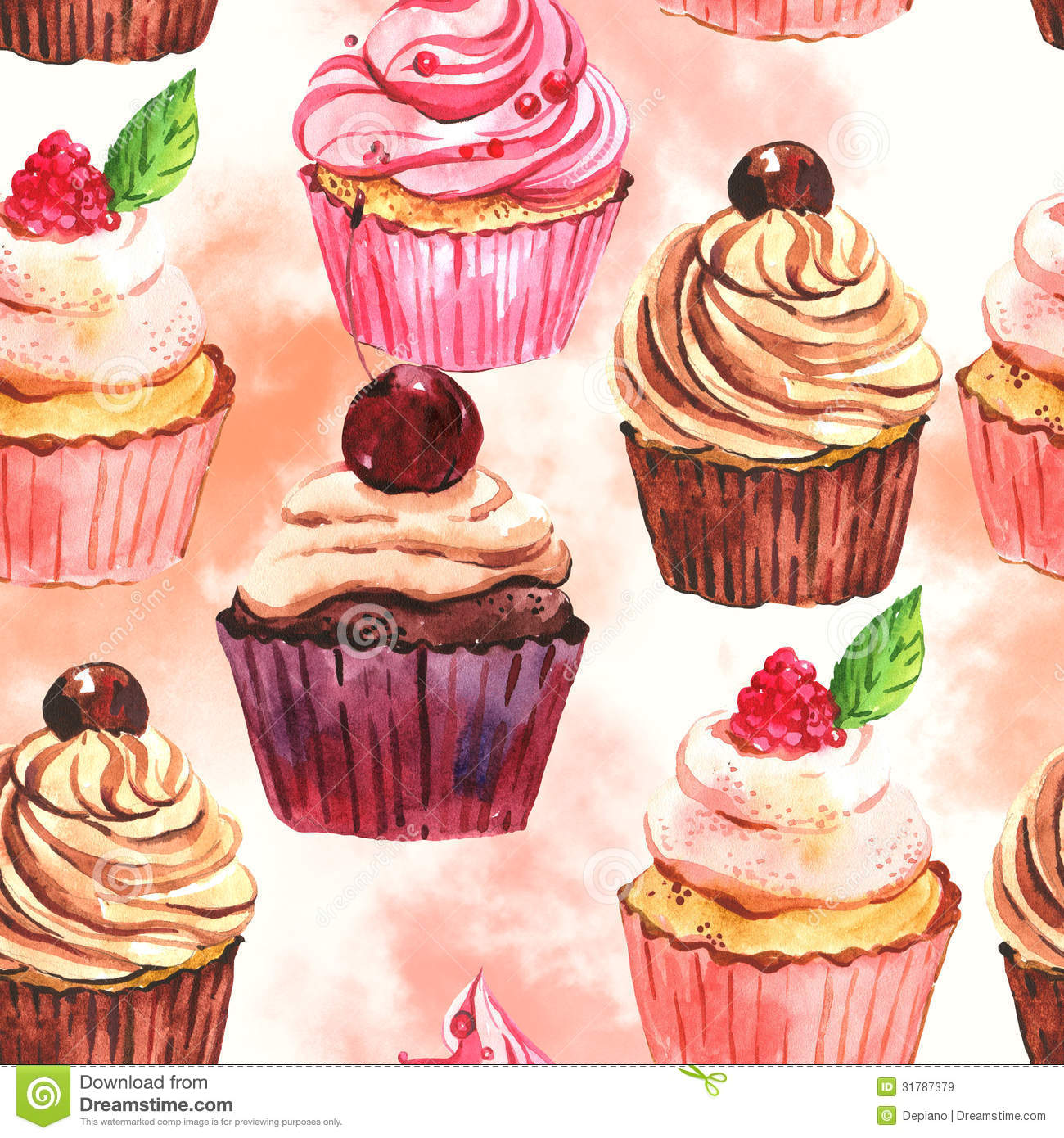 Watercolor Seamless Cupcake Background Stock Illustration